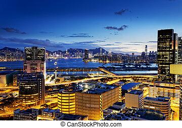 hong kong night - Hong Kong Island from Kowloon kwun tong...