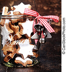 Christmas Cookies Inside Transparent Jar - Full Jar of...