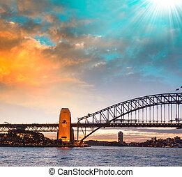 Sydney. The Harbour Bridge at dusk.