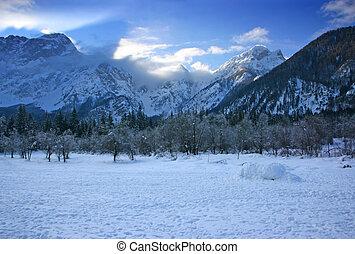 Winter mountain landscape near higher lake in Fusine,...