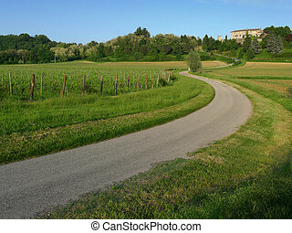 Bending road leading to a castle - Bending road leading to...