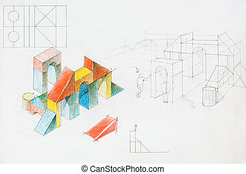 colorful architectural sketch - colored architectural sketch...