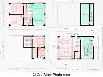 floorplan of modern house - colored hand drawn floorplan of...