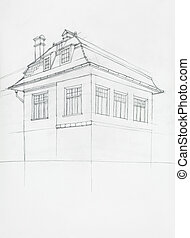 architectural sketch of house