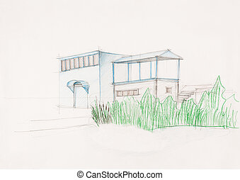 sketch of modern suburban house