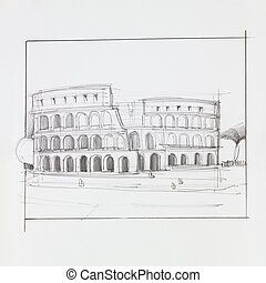 colosseum of Rome - hand drawn illustration of colosseum of...