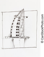 Burj Al Arab hotel in Dubai - hand drawn architectural...