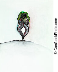 strange alien lookalike creature - hand drawn illustration...