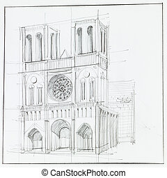 Notre Dame cathedral in Paris - architectural perspective of...