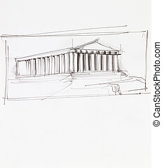 greek parthenon temple - hand drawn architectural...