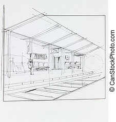 overground train station - architectural perspective of...