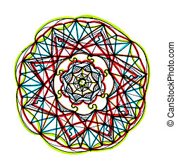 mandala design with vibrant colors - hand drawn colorful...