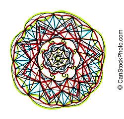 Mandala, desenho, vibrante, cores