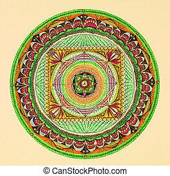 Mandala, redondo, Ornamento, Padrão