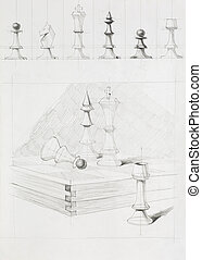 chess pieces and board - graphic illustration of chess...