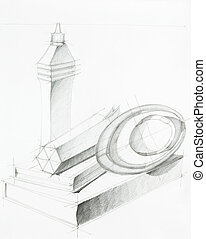 still life, sketch - artistic study of objects shapes...