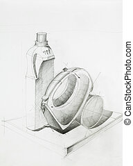 composition with objects - hand drawn artistic study of...