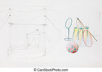 circus arena and objects - graphic sketch of circus arena...