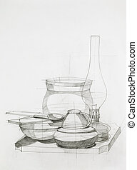 still life with objects - hand drawn artistic study of...