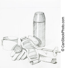artistic study of objects shapes composition, drawn by hand