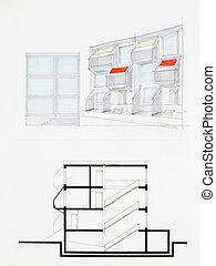 blueprint of modern building