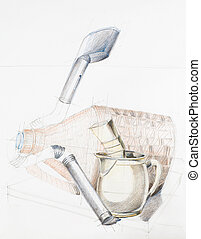 still life - hand drawn artistic study of composition with...