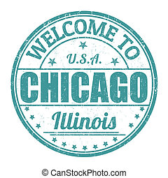 Welcome to Chicago stamp - Welcome to Chicago grunge rubber...