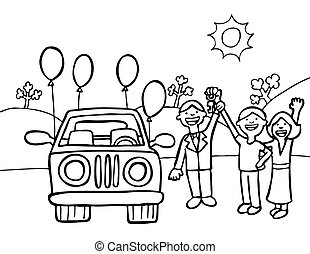 New Car Purchase Line Art - Husband and wife purchase a new...