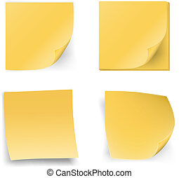 Stick notes - Yellow stick notes on white background, vector...
