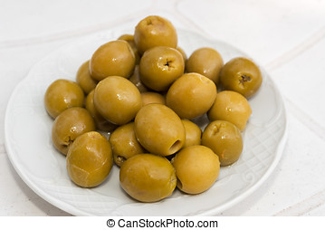 stuffed olives - Closeup of a bowl of stuffed olives