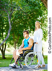 Walking with disable patient