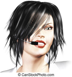 Woman with Headset - Digital Rendering of a Woman with...