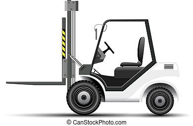 White Forklift - Realistic vector white forklift