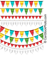 Set of Garlands - Collection of vector colorful triangle...