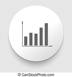 Graph Icon on Round Button Illustration