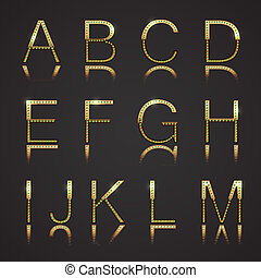 Golden Letters - Golden letters with diamons. Set 1