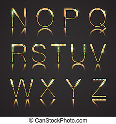 Golden Letters - Golden letters with diamons. Set 2