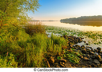 View of the Dniper River at morning - A quiet view of the...