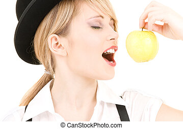green apple - bright picture of lovely blonde with green...