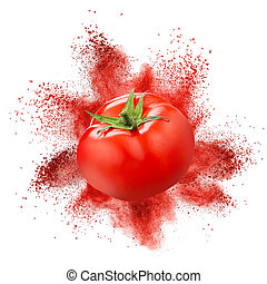Tomato with red powder explosion isolated on white...