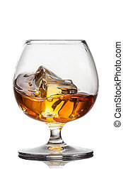 Splash of whiskey with ice in glass isolated on white...