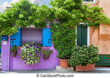 Color house on Burano island near Venice , Italy - Color...