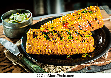 Grilled corn on the cob - Tasty barbecued or grilled corn on...