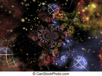 Astronomy - Digital visualization of a astronomical scene