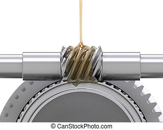 Oiling Gears - Oiling gears concept on white background