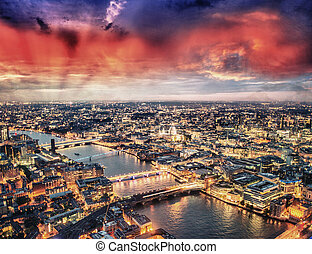 London aerial view at sunset