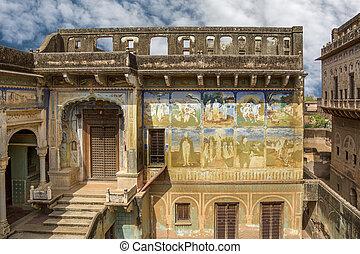 Old palace India - Old palace in Mandawa, Rajasthan, India,...