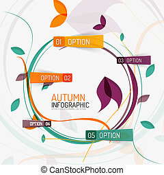 Floral swirl autumn infographic report, minimal - Vector...