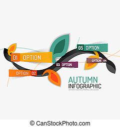 Floral swirl autumn infographic report, minimal - Vector...