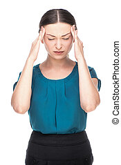 Portrait of a business woman with headache - Young business...